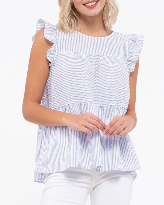 Seersucker Stripe Babydoll Top