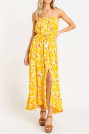 Strapless Floral Maxi Dress w/Split