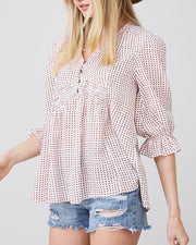 Smocked Dot 3/4 Ruffle Sleeve Top