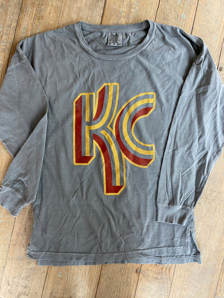KC Stripe Logo L/S Tee - Comfort Colors