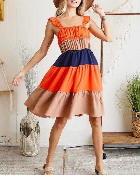 Color Block Tiered Dress