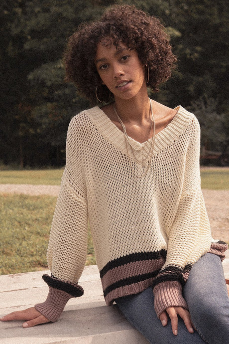 Banded Stripe Vneck Sweater