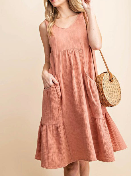Gauze Cotton Ruffle Hem Tank Dress