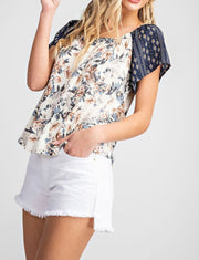 Floral + Geo Print Tie Back Top