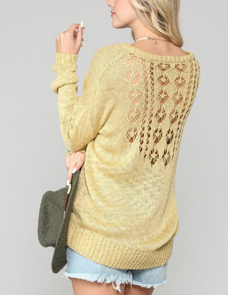 Pattern Back Lt Wt Sweater