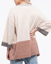 Colorblock Cuff Sleeve Open Cardigan
