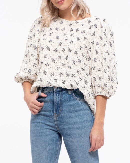 Floral Crinkle Puff Sleeve Tie Back Top