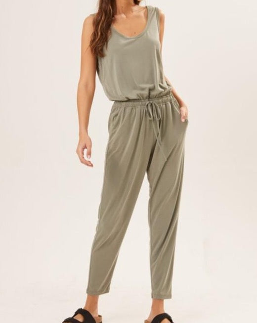 Scoop Back Knit Tank Jumpsuit