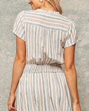 Stripe Woven Smock Waist Dress