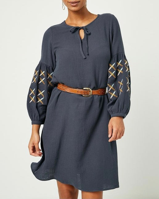 Embroidered Puff Sleeve Gauze Dress