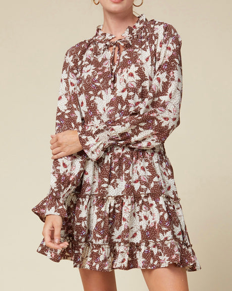 Fall Floral Tie Waist Dress