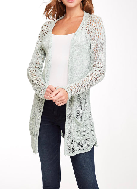 Open Weave Patch Pkt Summer Cardigan