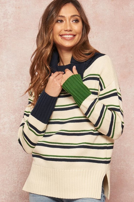 Multi-Stripe Colorblock Cowl Sweater