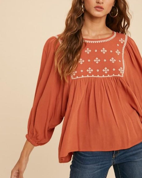 Babydoll Embroidered Bib Top