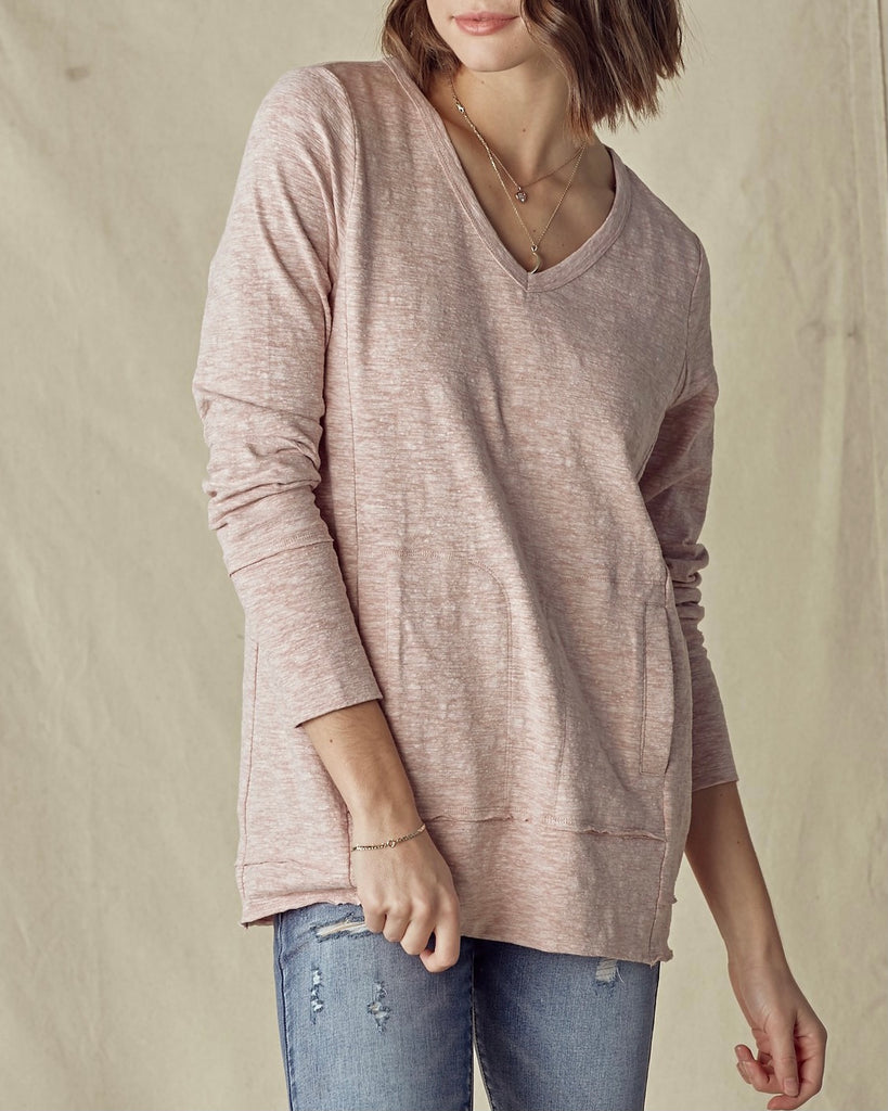 Soft Slub Knit Welt Pocket Tunic