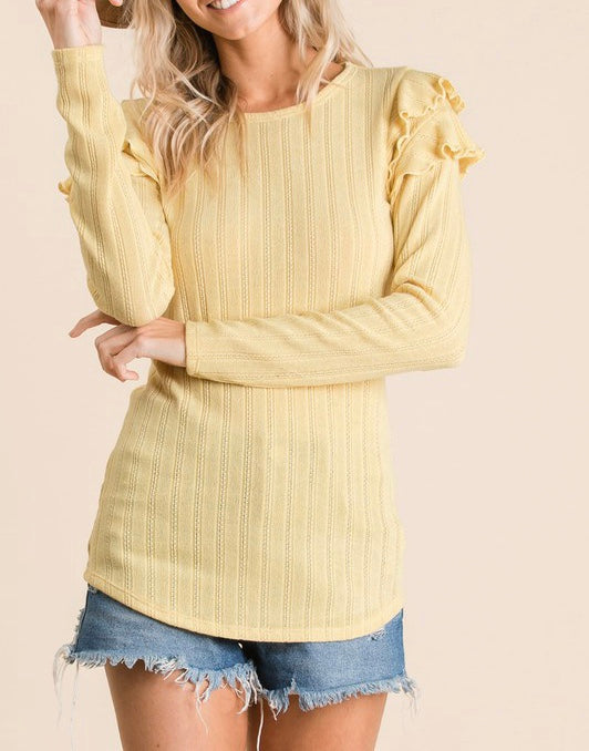 Ruffle Shoulder Rib Knit Top