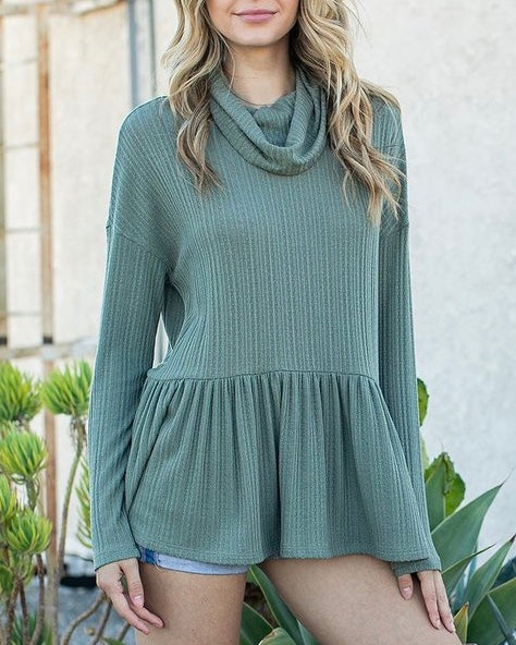 Pointelle Babydoll Cowl Neck Top