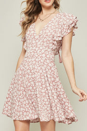 Floral Surplice V Tie Back Dress