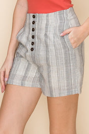Multi-Stripe Button Front Short