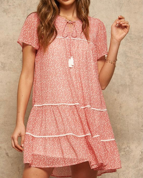 Ditzy Floral Print Babydoll Dress