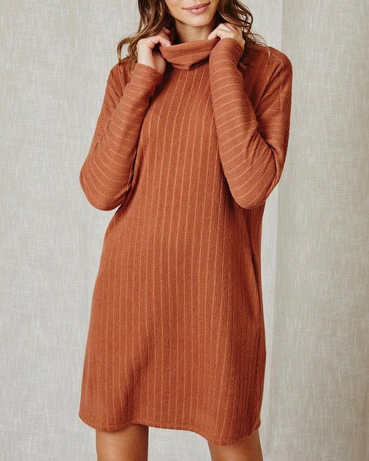 Cowl Rib Knit Dress with Pockets