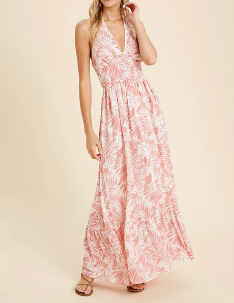Tropical Palm Halter Maxi Dress w/Ruffle Hem