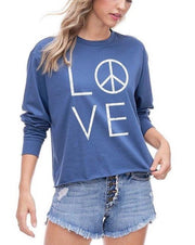 Love Peace Long Sleeve Graphic Top