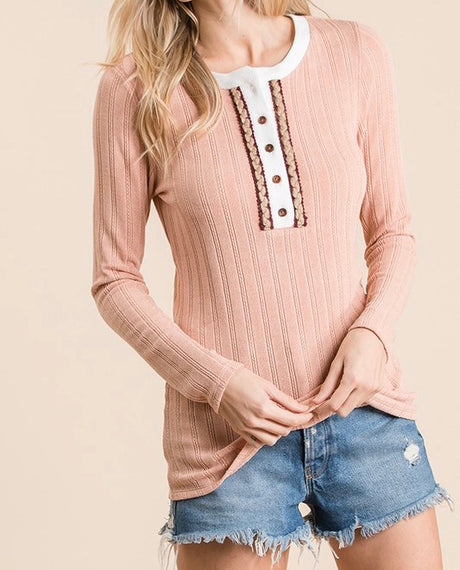 Textured Knit Henley Top