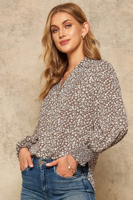 Floral Print Smocked Sleeve Top