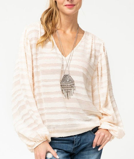 Bubble Sleeve Textured Stripe Top
