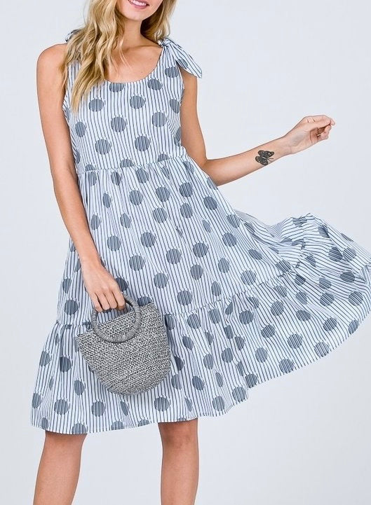 Stripe+Dot Tie Shoulder Dress