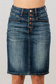 Yoke + Button Front Denim Skirt
