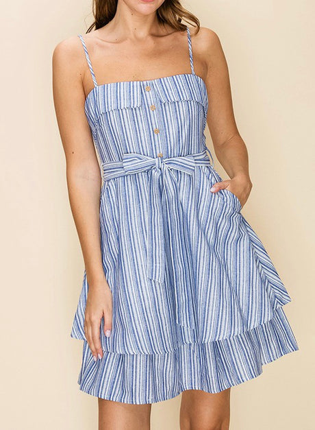 Pinstripe Multi-Layer Dress
