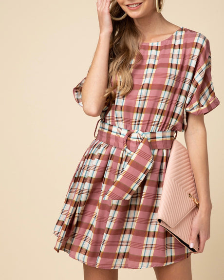 Plaid Belted Cuff Sleeve Dress