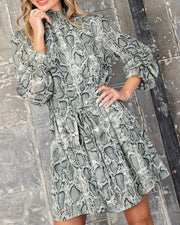 High Neck Snake Print Dress