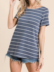 Eyelet Trim V-Neck Striped Top