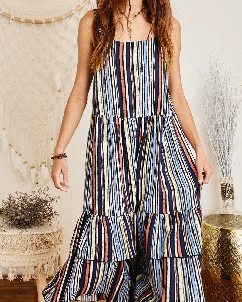 Bamboo Stripe Ruffle Midi Dress