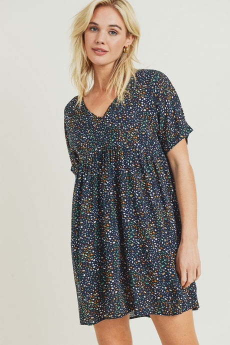 Pebble Print Babydoll Dress