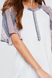 Boho Print Sheer Raglan Sleeve Top