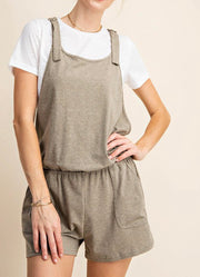 Adjustable Strap Overall Romper
