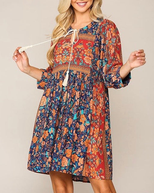 Boho Floral Border Print Dress