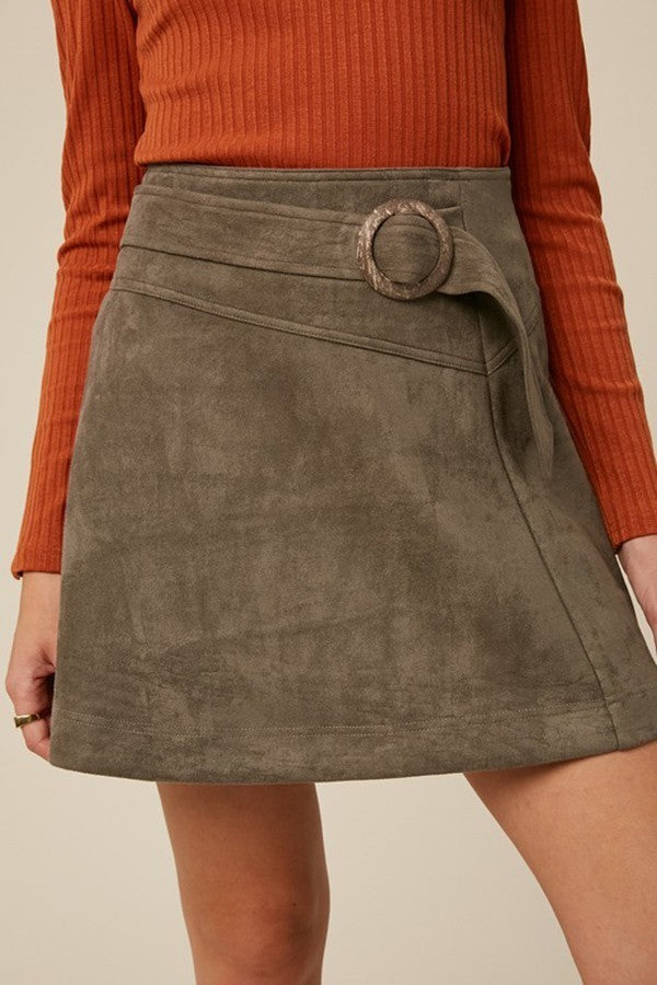 Faux Suede Buckle Waist Skirt