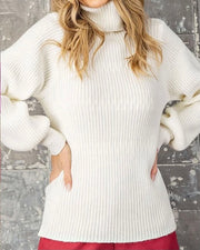 Bubble Sleeve Turtleneck Sweater