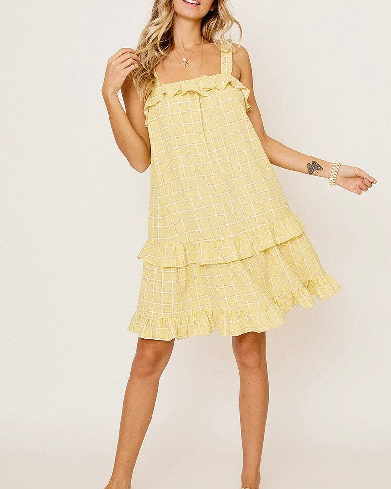 Grid Print Ruffle Sundress