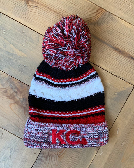 KC Embroidered Heart Stripe Beanie