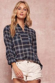 Plaid Roll Sleeve Henley Top