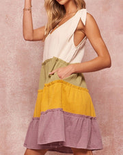 Colorblock Tie Shoulder Dress