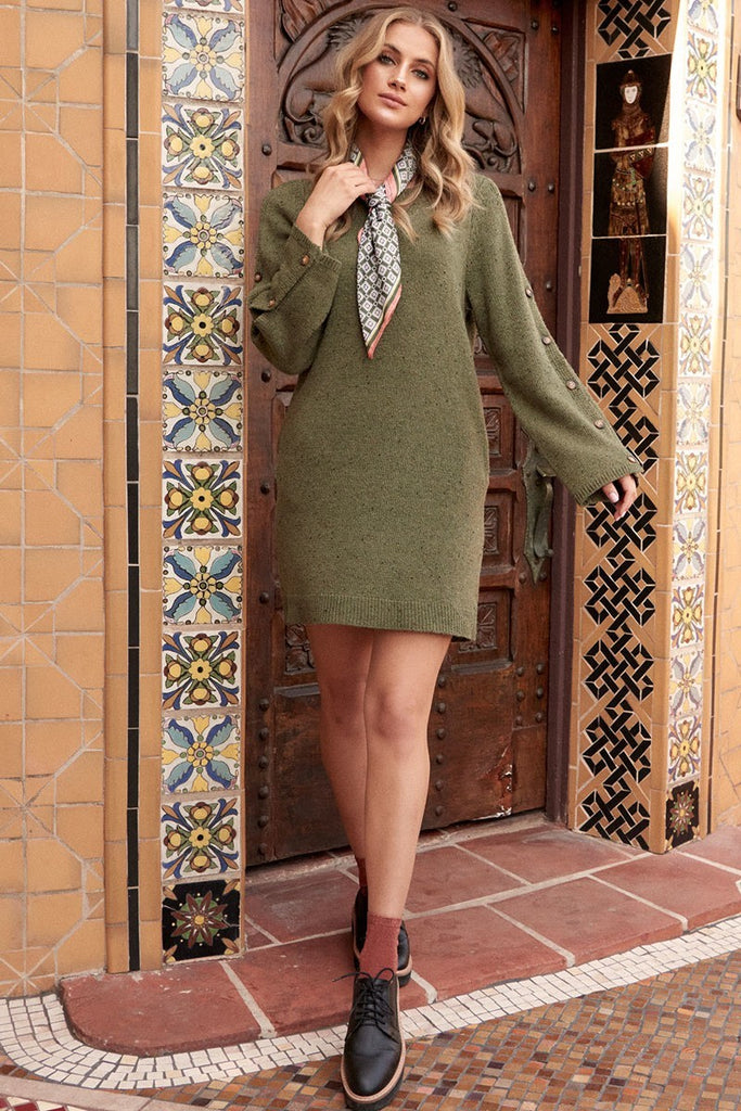 Button Wide Sleeve Sweater Dress