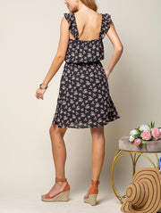 Floral Ruffle Shoulder Dress s/Pockets