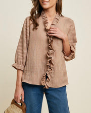 Ruffle Stripe Hook and Eye Top